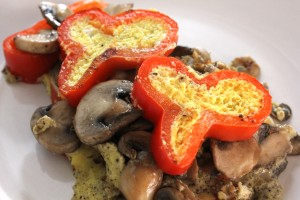 Red Pepper and Mushroom Omelets