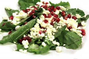Pomagranite and goat cheese salad