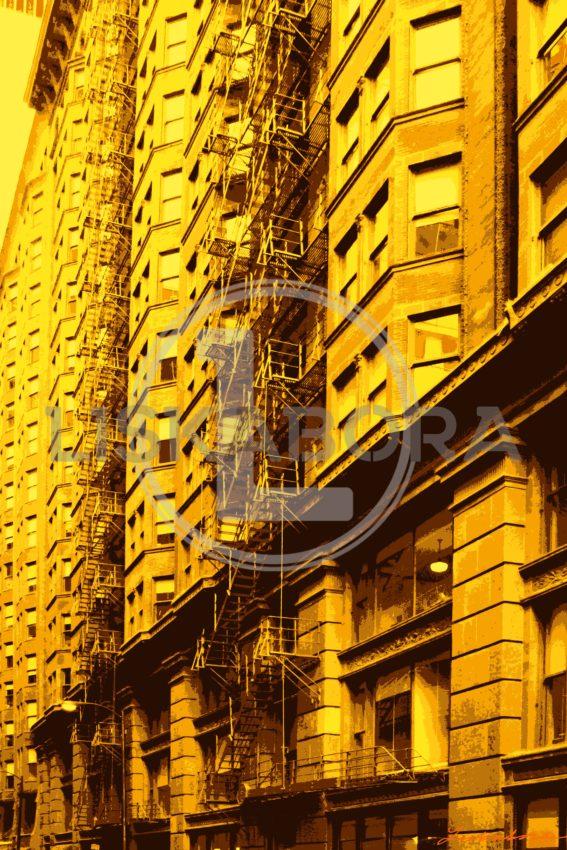 Chicago's Monadnock Building Alleyway in Yellow - Pop Art