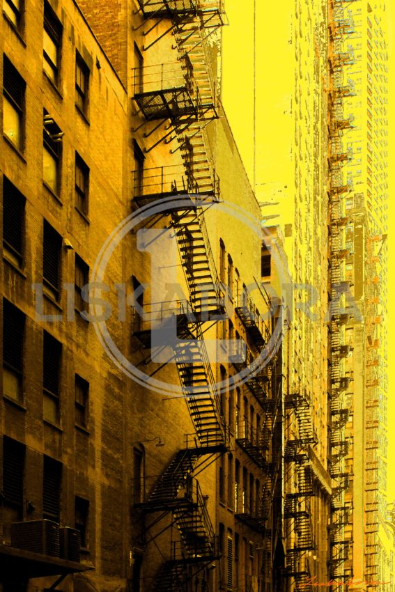 Chicago Loop Alleyway Fire Escapes In Yellow