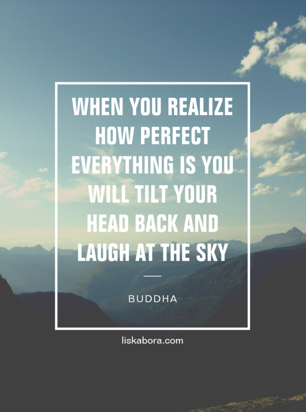 """""""When you realize how perfect everything is, you will tilt your head back and laugh at the sky."""" - Buddha"""