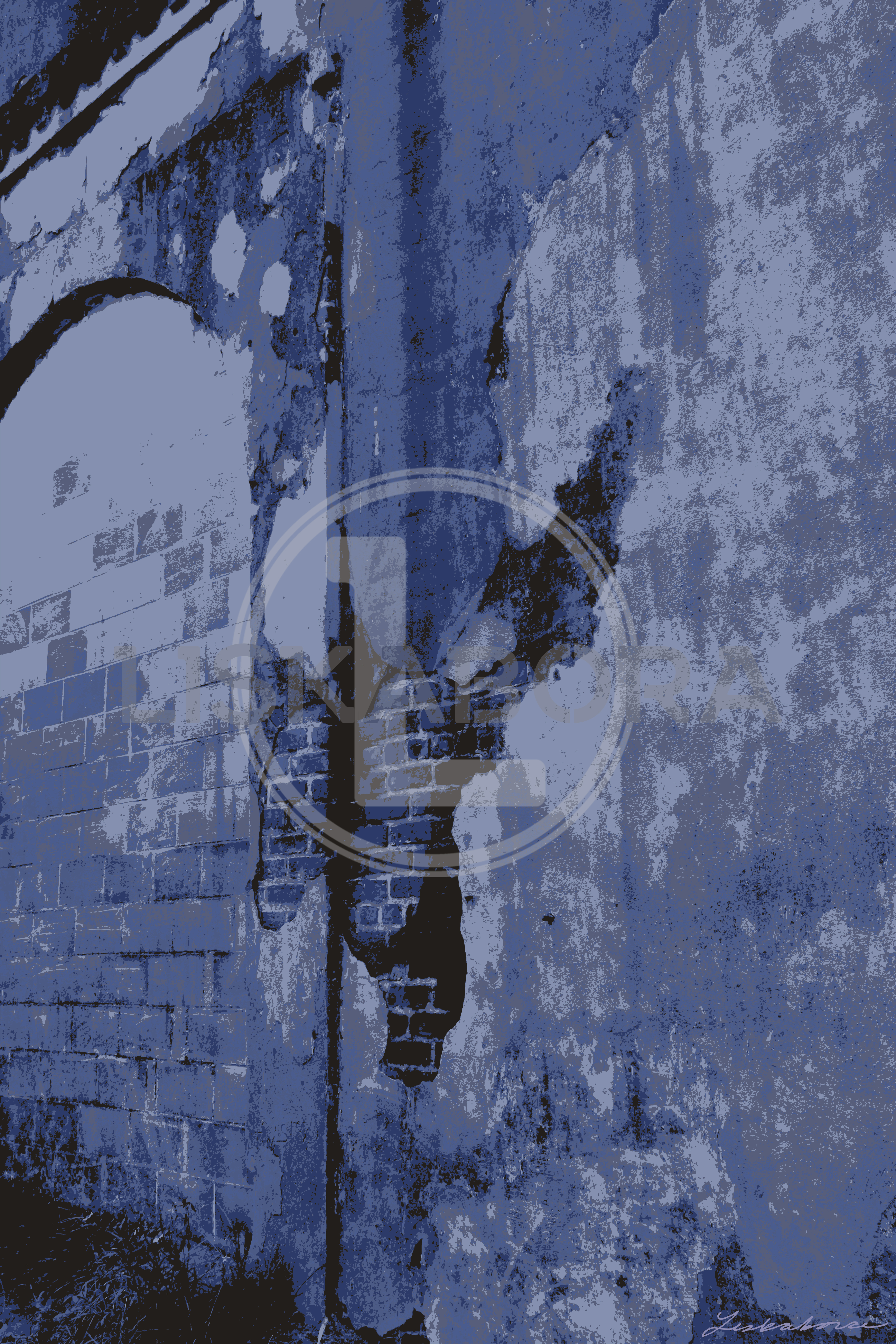 Rustic Crumbling Wall In Blue Architectural Photography