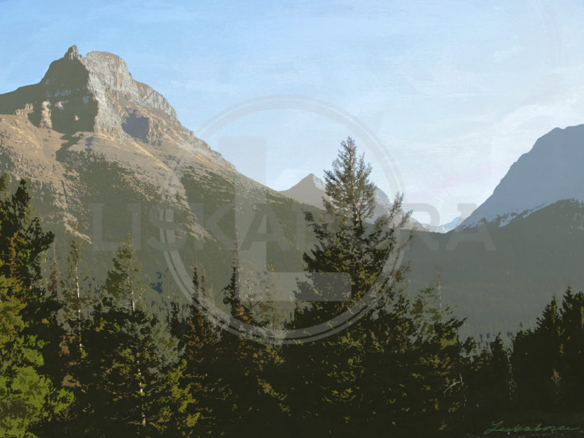 Mountain Landscape Mixed Media - Glacier National Park, Montana