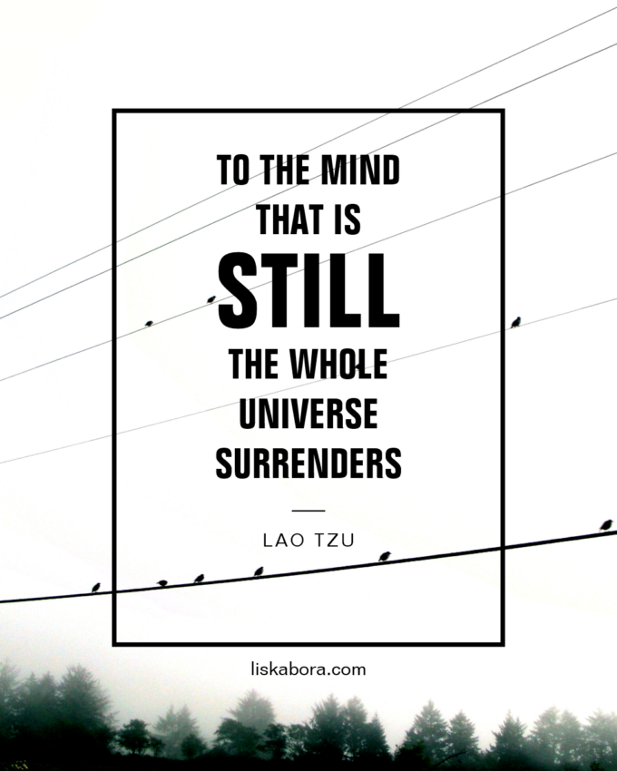"""""""To the mind that is still, the whole universe surrenders.""""  Quote by Lao Tzu"""
