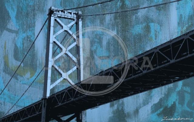 San Francisco Bridge Mixed Media Pop Art In Blue
