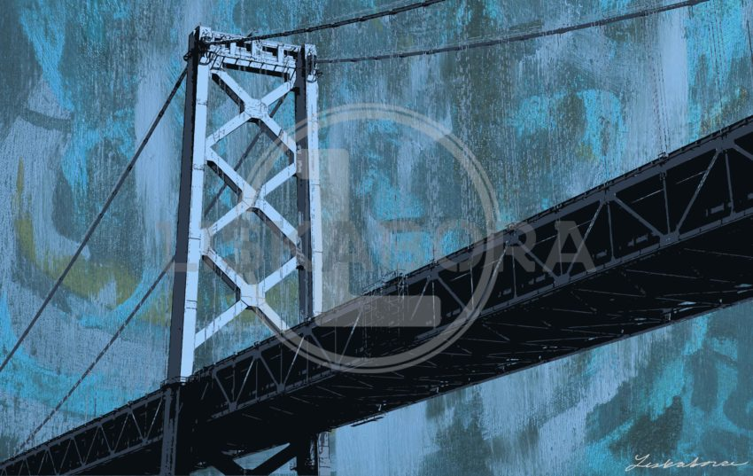 San Francisco Bridge Mixed Media Pop Art In Blue