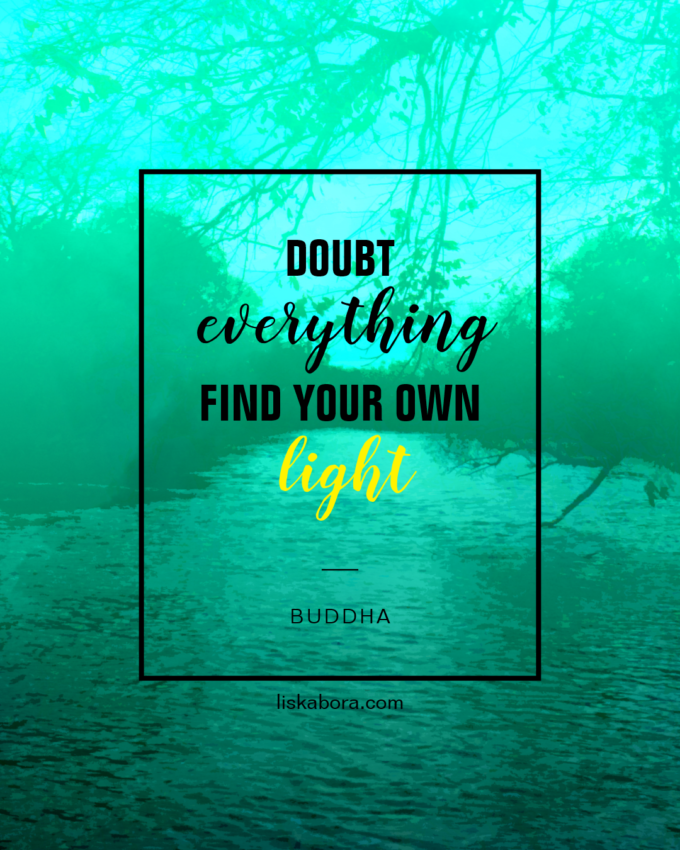 Doubt everything.  Find your own light. -Buddha