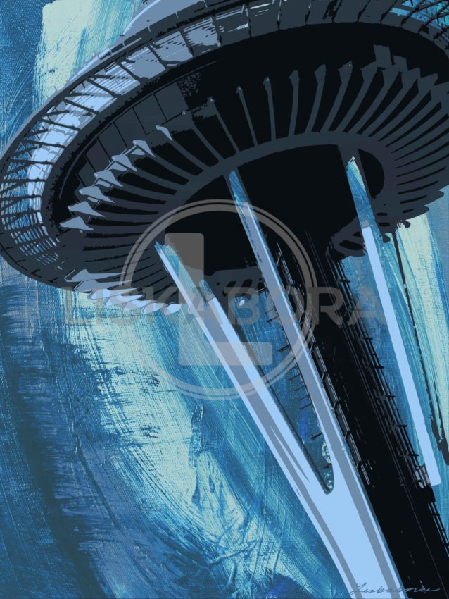 Space Needle In Blue - Seattle Architectural Photography Mixed Media Composition